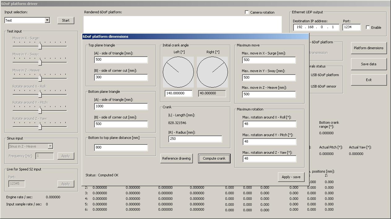 6DoF platform software driver