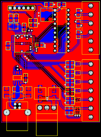 PCB for measurement of mechanical response of AC motor.
